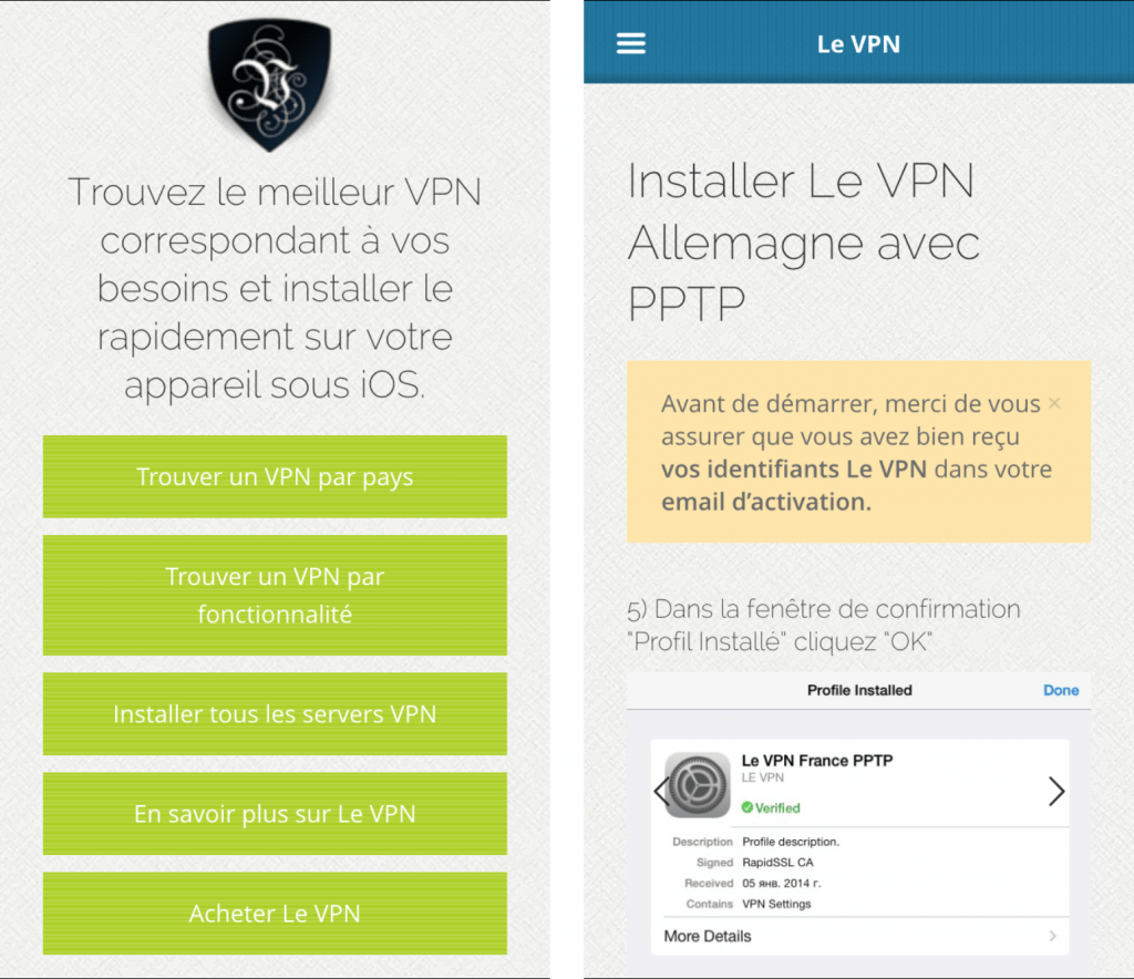 Application iphone du fournisseur de vpn : LeVPN
