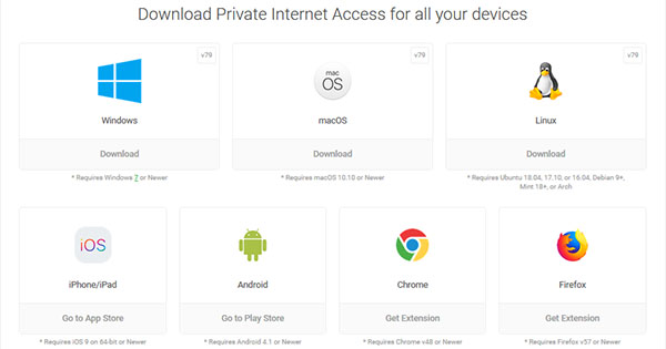Applications Private Internet Access
