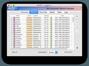 Sélection des localisations pour le services de vpn : AirVPN