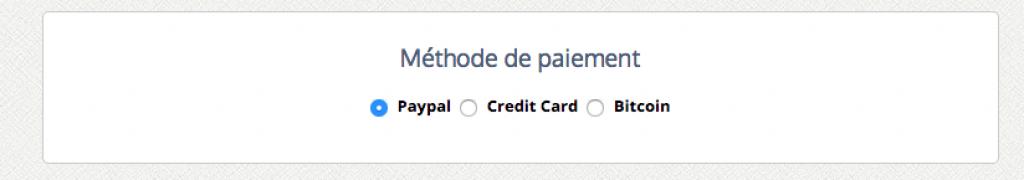 Moyen de paiements pour le service LeVPN