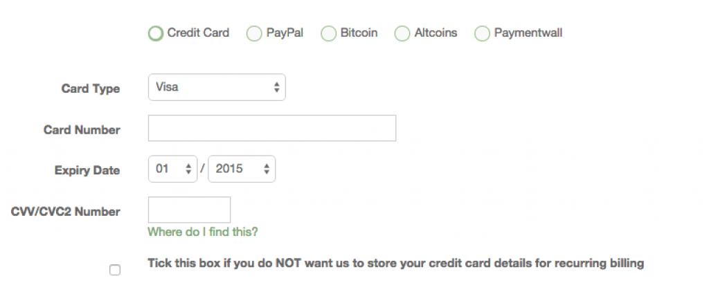 Moyens de paiements acceptés pour le service de vpn : Torguard