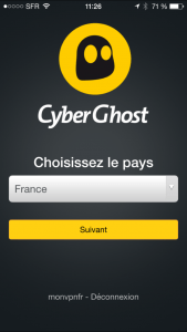Application iOS du fournisseur de vpn cyberghost