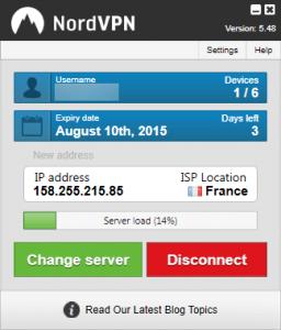 Application Windows de NordVPN