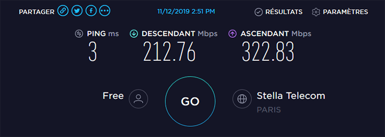 Speedtest sans VPN