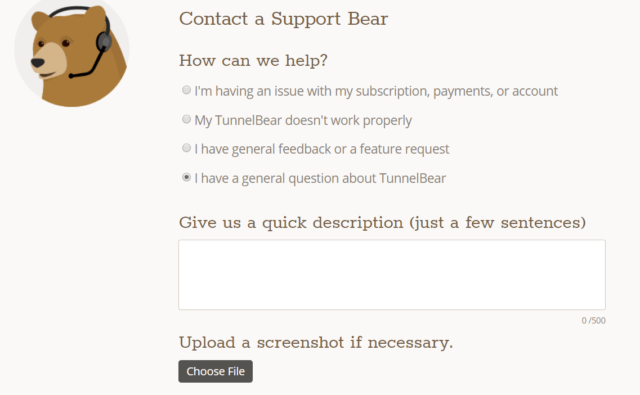 Support client TunnelBear