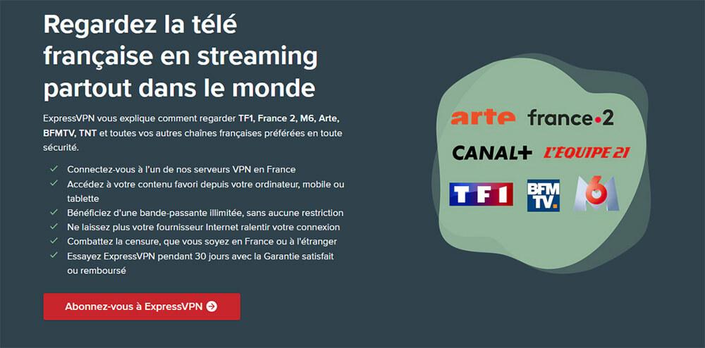 Déblocage TV française ExpressVPN
