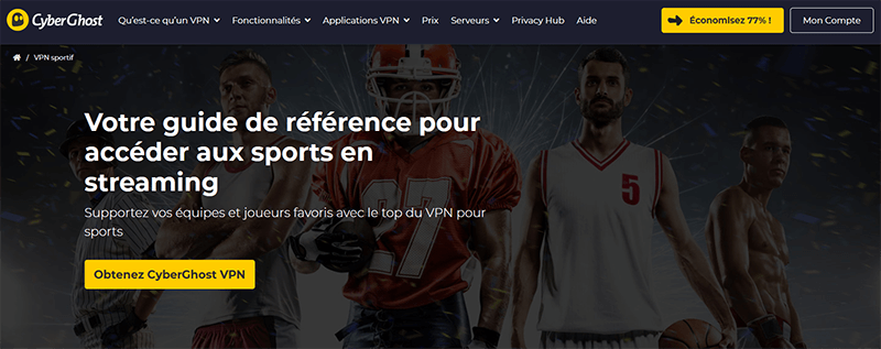 Streaming sport avec CyberGhost