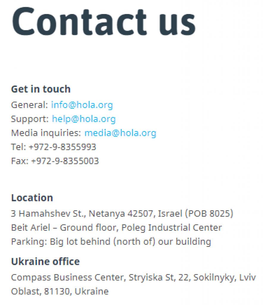 contact hola