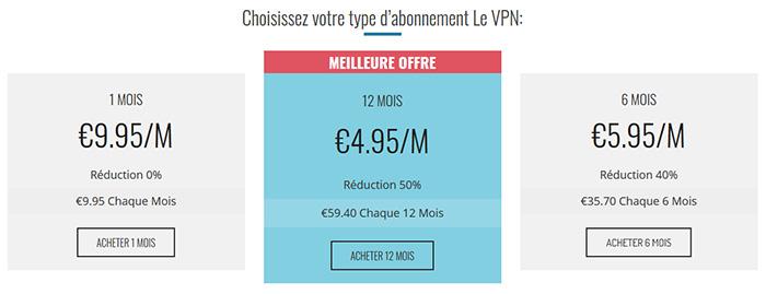 Prix Le VPN