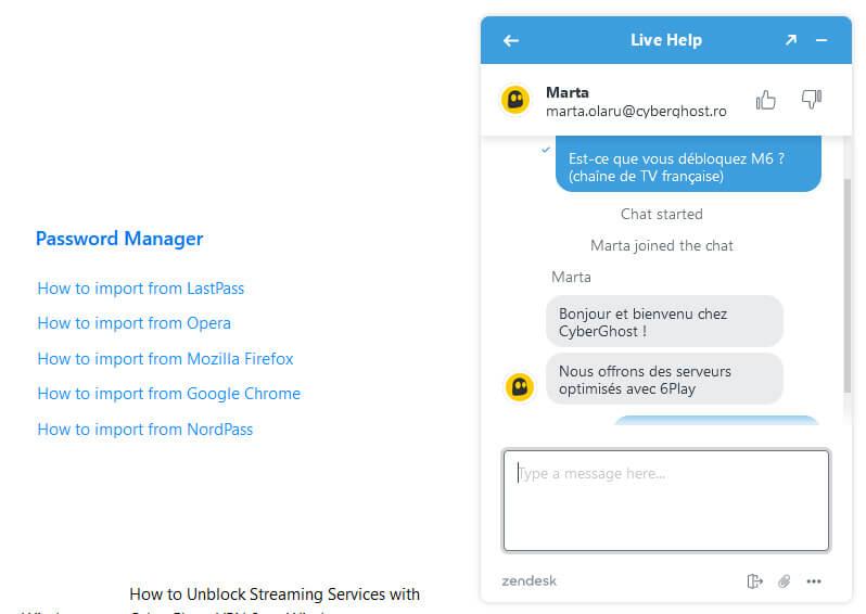 Chat en ligne CyberGhost