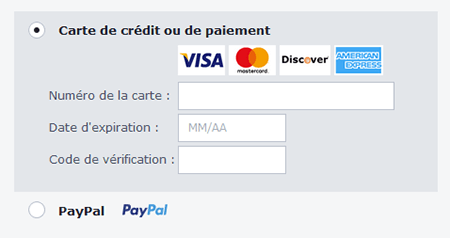 Moyens de paiement AVG Secure VPN