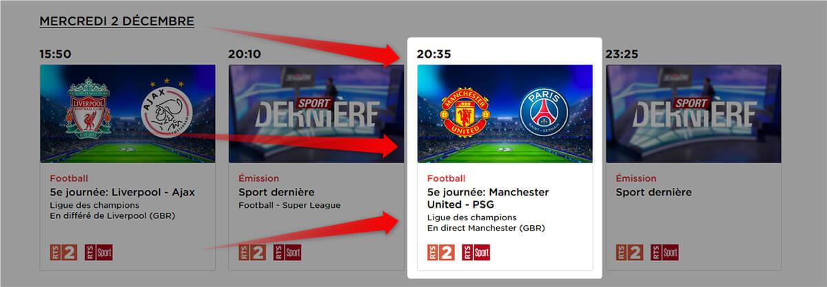 Programme Chaîne RTS Manchester United PSG LDC