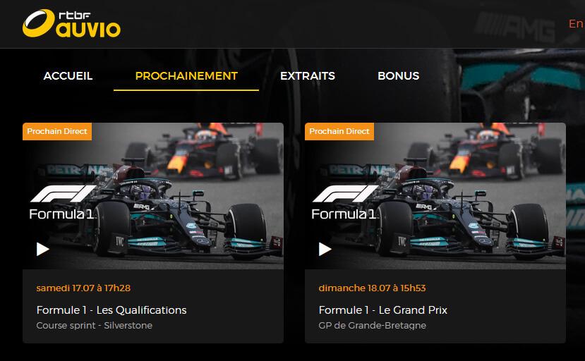 Programme TV RTBF GP F1 Grande-Bretagne
