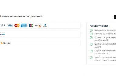 Quels sont les moyens de paiement proposés par PrivateVPN ?